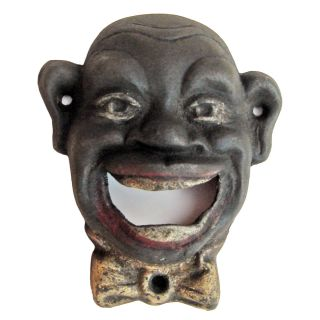 Black Cast Iron Wall Mount Bottle Opener Smiling Man