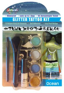 Glimmer Body Art Glitter Tattoo Tattoos Kit Ocean Water Park 15