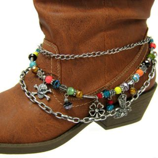 MULTI COLORED BEADS AND CHARMS BOOT ANKLET BRACELET WITH 3 CHAINS