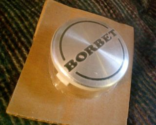 New NOS Borbet Approx 56mm Alloy Brushed Silver Wheel Center Cap PPO