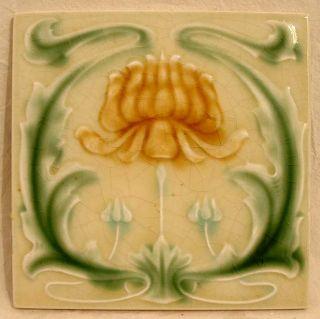 Antique Genuine Lee Boulton Set of 6 Water Lily Art Nouveau Majolica