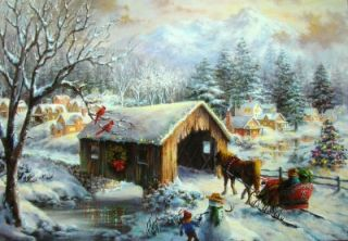 Artist Nicky Boehme COVERED BRIDGE Christmas Greeting CARD
