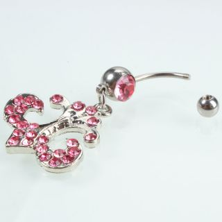 Barbell Rhinestone Navel Belly Button Ring Random Color Body Jewelry