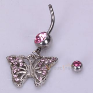 Butterfly Barbell Navel Belly Button Ring Pink Rhinestone Body Jewelry