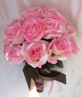 15pc Wedding Bouquet Flower Decoration Pink Brown