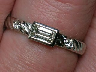 RARE Jane Bohan Platinum Emerald Cut Diamond Ring