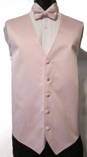 Light Pink Satin Fullback Vest & Bow Tie Wedding Prom Discount 5XL