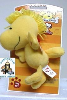 Ty Beanie Babie Peanuts Collection Bow WOW Squeaker Dog Toy
