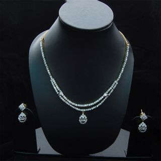 Bollywood Jewelry Indian Necklace Earrings Simulated CZ Studded Set