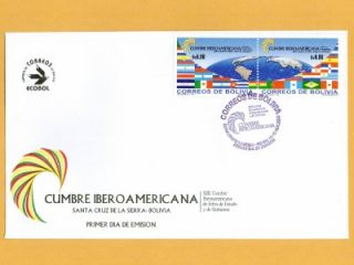 Bolivia Stamps 2003 Ibero American Conference Flags Scott 1211 FDC VF