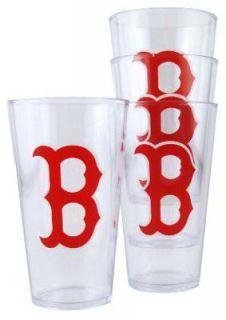Boston Red Sox MLB Baseball Set of 4 Clear Plastic Drinking Pint