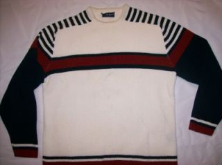 Mens Boston Traders Navy Burgundy and Ivory Striped Ski Sweater Sz LG