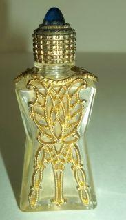 antique perfume bottle gold tone metal blue cabachon or sapphire