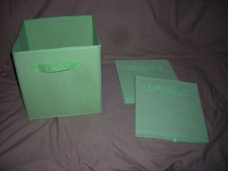 of 3 Green Fabric Collapsible Storage Bins Boxes Cube Organizer