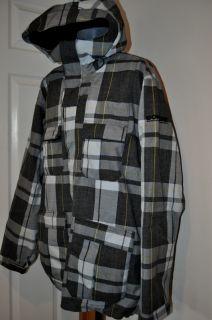BONFIRE BAKER Mens Gray Plaid Snowboard Ski Jacket Coat Waterproof XXL