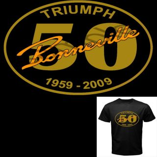 Mens 50 Years Triumph Bonneville Motorcycle T Shirt