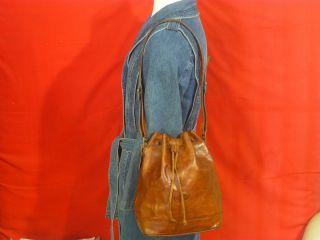 Bonia Extra Large Brown Leather Shoulder Bucket Bag