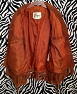 BERMANS BROWN SUEDE LEATHER FRINGE RANCH WESTERN COAT JACKET MEN 40 M