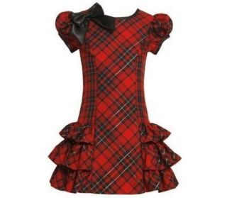 Bonnie Jean Girls Dress Size 5 Red Plaid Pageant Boutique Clothing