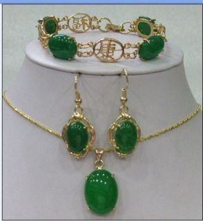 Green Jade Bracelet Earring Necklace Pendant