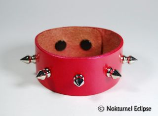 Metallic Red Spiked Leather Wristband Bracelet Metal
