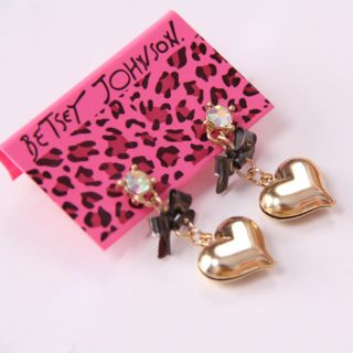 Betsey Johnson Synchronous Heart Bow Earrings BJ E23Y