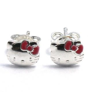 Fuschia Pink Hello Kitty Cat Bow Earrings Sterling Silver 925 Girl