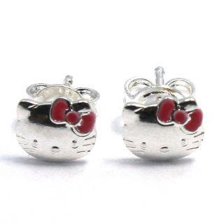 Fuschia Pink Hello Kitty Cat Bow Earrings Sterling Silver 925 Girl