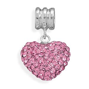 Sterling Silver Pink Crystal Heart Add Bead Story Charm