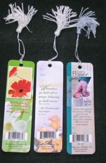 SET/3 DIFFERENT CHRISTIAN BOOKMARKS PRAYER LAMINATED W/ TASSELS