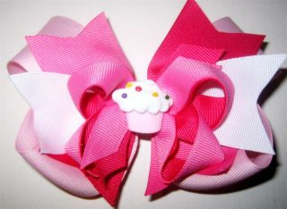 Happy Birthday Boutique Hair Bows Baby Girls Cupcake