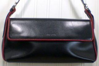 Black Arcadia Ladies Leather Handbag Purse Red Trim Quality Style Made