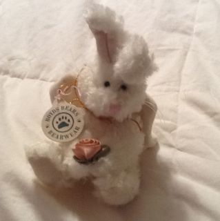 Boyds Bears Hare Bunny   Celeste 5 Ornament   White Angel Pink Rose