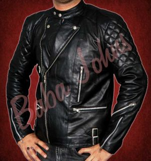 Mens Black Motorcycle Biker Brando Perfecto Genuine Faux PU Leather