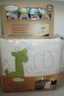 ORGANIC AZIZI 5pc Crib Bedding Set Baby Boy mobile Lion jungle safari
