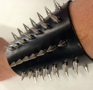 NEW LEATHER BULLET SPIKED BRACELET PUNK HEAVY METAL ROCK BLACK METAL
