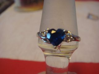 Blue Sapphire Heart With Diamonds   10K White Gold   Blue Stone