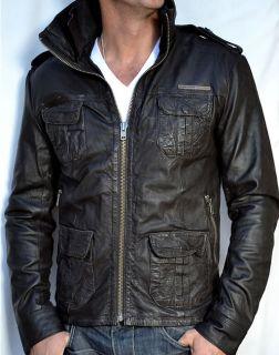SUPERDRY Brad Mens Leather Motorcycle Jacket Beckham Biker Cut New