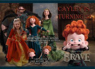 Brave Custom Birthday Invitation Card Photo Invite Merida Disney DIY