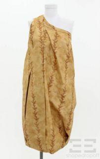 bottega veneta brown gathered one shoulder dress