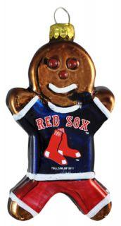 Boston Red Sox Gingerbread Man Blown Glass Christmas Ornament