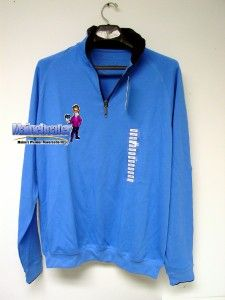 New Boston Traders Mens Quarter 1 4 Zip Pullover Sweatshirt Blue Soft