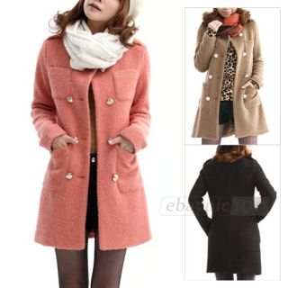 Double Breasted Round Neck Button Pocket Long Trench Coat Jacket