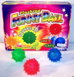 12 Flashing Light Up SPIKEY High Bouncing Balls Toys