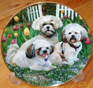 Danbury Mint Lhasa Apso GARDEN TRIO Patricia Bourque Dog Plate