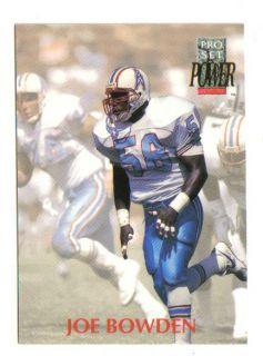 1992 Pro Set Power Joe Bowden Houston Oilers Oklahoma Sooners