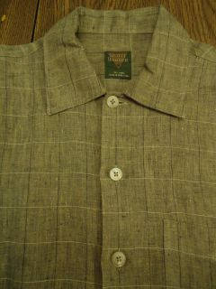 Mens Scott Barber Linen SS Casual Button Front Shirt M