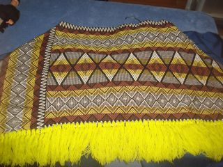 Vintage Mod Mexican Poncho Yellow Brown Black Fringe