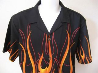 Rebel XXL Retro Black Orange Flames MMA Bowling Shirt Biker