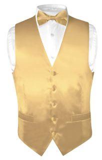 Biagio Mens Solid Gold Color Silk Dress Vest Bow Tie Set